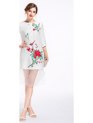 cheap -YANG X-M Women's Daily Going out Cute A Line Dress,Embroidered Round Neck Knee-length Linen Polyester Spring Summer Mid Rise Inelastic Medium