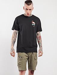 Masculino Camiseta Para Noite Moda de Rua Todas as Estações,Estampa Animal Algodão Decote Redondo Manga Curta Fina