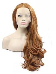 abordables -Perruque Synthétique Femme Ondulation Naturelle Cheveux Synthétiques Perruque Full Lace Auburn