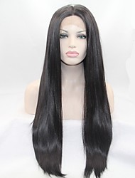 Sylvia Glueless Synthetic Lace front Wig Natural Black Heat Resistant Long Straight Synthetic Wigs For Black Women