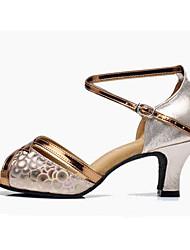 """Women's Latin PU Heels Indoor Buckle Low Heel Brown Silver Gold 2"""" - 2 3/4"""" Customizable"""