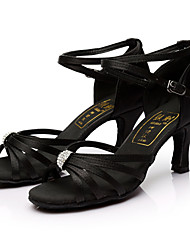 cheap -Women's Latin Shoes Silk Sandal Rhinestone Customized Heel Customizable Dance Shoes Black / Indoor / Leather