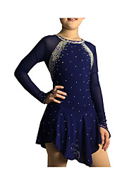Figure Skating Dress Women's Girls' Ice Skating Dress Dark Blue Spandex Elastane High Elasticity Jeweled Rhinestone Performance Handmade