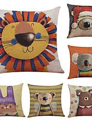 Set of 6 Decorative Cartoon Pattern Linen Pillowcase Sofa Home Decor Cushion Cover  Throw Pillow Case (18*18inch)