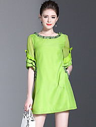 Women's Cute Casual Sophisticated A Line Loose Dress,Solid Round Neck Above Knee Polyester Chiffon Summer Mid Rise Inelastic Medium
