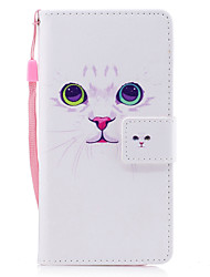 cheap -For Samsung Galaxy A3 A5 (2017) Case Cover White Cat Pattern Painted PU Skin Material Card Stent Wallet Phone Case