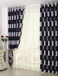 Rod Pocket Grommet Top Double Pleated Pencil Pleated Curtain Other , Checks Living Room Material Blackout Curtains Drapes Home Decoration
