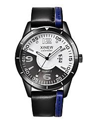 Homens Relógio de Moda Relógio de Pulso Relógio Esportivo Quartzo Couro Banda Casual Preta Marrom