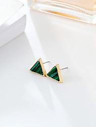 Damen Ohrstecker Synthetischer Smaragd Modisch Simple Style Smaragdfarben Aleación Runde Form Dreiecksform Schmuck Für Hochzeit Party