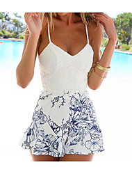 Women's Daily Boho Floral Print Strap Rompers