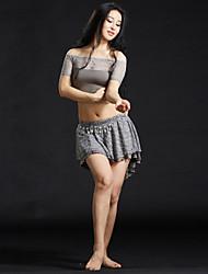 abordables -Danza del Vientre Accesorios Mujer Entrenamiento Encaje Encajes Lentejuelas 4 Piezas Mangas cortas Cintura BajaFaldas Tops Cinturón
