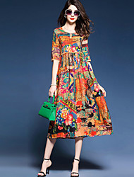 Women's Beach Holiday Plus Size Casual Chinoiserie Sophisticated A Line Sheath Swing Dress,Print Round Neck Midi Half Sleeves Silk