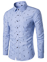 cheap -Men's Slim Shirt - Geometric Print Classic Collar