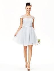 Princess Jewel Neck Knee Length Tulle Bridesmaid Dress with Ribbon by Yaying