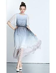 cheap -ZIYI Women's Casual Chiffon Swing Dress,Print Round Neck Midi Short Sleeves Polyester Summer Mid Rise Micro-elastic Thin