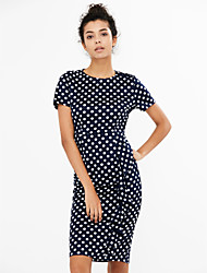 cheap -Women's Party Plus Size Vintage Street chic A Line Bodycon Dress,Polka Dot Round Neck Knee-length Short Sleeves Cotton Polyester Summer