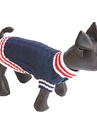Dog Sweater Dog Clothes Casual/Daily Fashion Color Block Dark Blue Red Costume For Pets