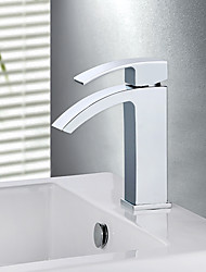 cheap -Contemporary Modern Country Centerset Waterfall Ceramic Valve Single Handle One Hole Chrome, Bathroom Sink Faucet