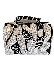 Women Bags Spring Fall Winter Suede leatherette Tote Beading Crystal/ Rhinestone for Formal Outdoor Black-white