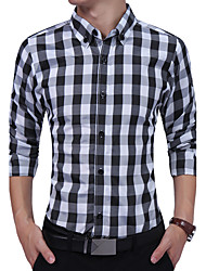 Men's Casual/Daily Simple All Seasons Shirt,Plaid Button Down Collar Long Sleeves Cotton Polyester Cotton Blend Polester/Cotton Blend