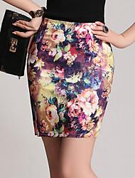 abordables -Mujer Tallas Grandes Corte Bodycon Faldas - Floral Estampado, Floral