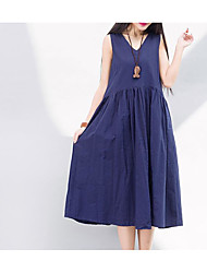 Women's Casual/Daily Simple A Line Dress,Solid V Neck Midi Sleeveless Linen Summer Mid Rise Micro-elastic Medium