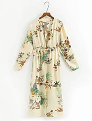cheap -Women's Street chic Trench Coat-Floral V Neck