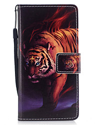 cheap -For Samsung Galaxy A3 A5 (2017) Case Cover Tiger Pattern Painted PU Skin Material Card Stent Wallet Phone Case