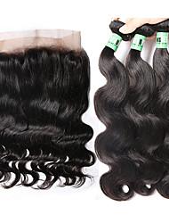 baratos -Cabelo Malaio Onda de Corpo Cabelo Humano Trama do cabelo com Encerramento Tramas de cabelo humano Macio Extensões de cabelo humano
