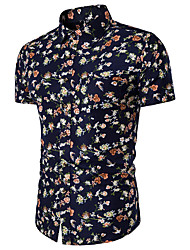cheap -Men's Slim Shirt - Floral Print Classic Collar