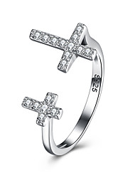 cheap -Women's Sterling Silver / Zircon / Platinum Plated Ring - Unique Design / Cross Silver Ring For Birthday / Business / Gift