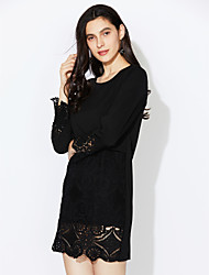 cheap -Women's Plus Size Street chic Loose Shift Lace Dress - Solid Colored Patchwork, Lace
