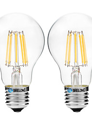 8W E27 LED Filament Bulbs A60(A19) 8 COB 600 lm Warm White White 3000-3500   6000-6500 K V