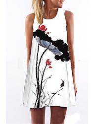 abordables -Femme Fleur Mini / Au dessus du genou Courte Robe - Imprimé, Fleur Blanc Eté Blanc L XL XXL Sans Manches