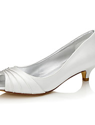 cheap -Women's Shoes Silk Spring / Fall Wedding Shoes Low Heel Open Toe / Peep Toe / Round Toe for Ivory