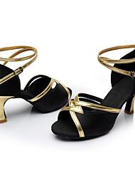 Personalizzabile Da donna Balli latino-americani Seta Sandali Per interni Tacco su misura Nero