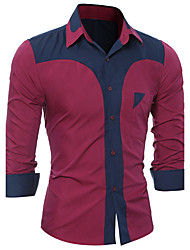 cheap -Men's Party Club Active Street chic Shirt - Color Block Special Design Fashion Classic Novelty Patchwork Mixed Color