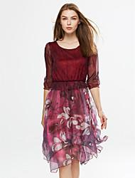 Swing Vestito Da donna-Per uscire Semplice Fantasia floreale Rotonda Asimmetrico Maniche a ¾ Rosso Grigio Viola PoliesterePrimavera