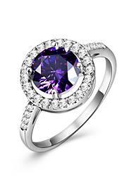 cheap -Women's Engagement Ring Ring Synthetic Amethyst AAA Cubic Zirconia Purple Synthetic Gemstones Cubic Zirconia Circle Luxury Circle Elegant