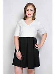 Trapèze Tunique Noir et blanc Robe Femme Décontracté / Quotidien Soirée / Cocktail Grandes Tailles Sexy simple Mignon,Couleur Pleine