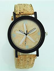 baratos -Mulheres Relógio de Pulso de madeira Couro Banda Flor / Casual / Fashion Bege / Um ano / Tianqiu 377