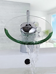 billiga -Badrum Tvättställ Kran - Vattenfall Krom Centerset Ett hål / Singel Handtag Ett hål / Mässing