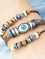 cheap -Men's Women's Leather Evil Eye Leather Bracelet Wrap Bracelet - Vintage Bohemian Turkish Handmade Hip-Hop Fashion Punk Round Geometric