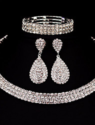 cheap -Women's Rhinestone Jewelry Set 1 Necklace 1 Pair of Earrings 1 Bracelet - Classic Basic DIY Square Jewelry Set For Christmas Gifts
