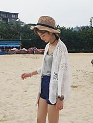 Bomull Rayon Blonder Ekstra Tynn Semi-gjennomsiktig 3/4 ermer,V-hals Bluse Ensfarget Alle sesonger Sommer Sexy Vintage EnkelDaglig