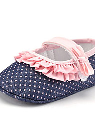 cheap -Baby Girls' Kids' Loafers & Slip-Ons First Walkers Fabric Summer Fall Party & Evening Dress Casual Stitching Lace Polka Dot Flat Heel Blue Flat