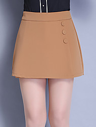 Women's High Rise Micro-elastic Shorts Pants,Simple Slim Pure Color Beaded Layered Solid