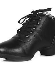 """economico -Da donna Sneakers da danza moderna Tacchi Sneaker Da allenamento Ricami Con ruche Top di pizzo Quadrato Nero Sotto 1 """" Personalizzabile"""