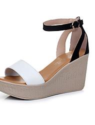 Da donna Sandali Comoda Di pelle Estate Casual Comoda Quadrato Bianco Nero Giallo Blu 7,5 - 9,5 cm
