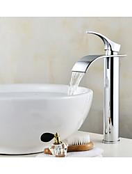economico -Lavandino rubinetto del bagno Cromo Installazione centrale Una manopola Un foro